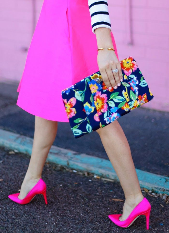   Barlow Lehman Style Consulting   bright pink / fuchsia midi skirt + heels, striped top, floral clutch bag