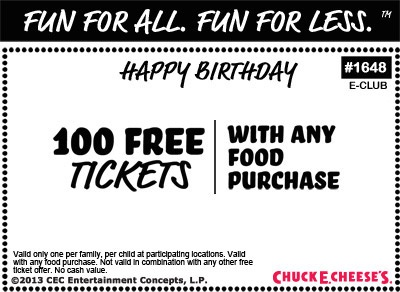 Chuck e cheese coupons birthday party : October 2018 Wholesale