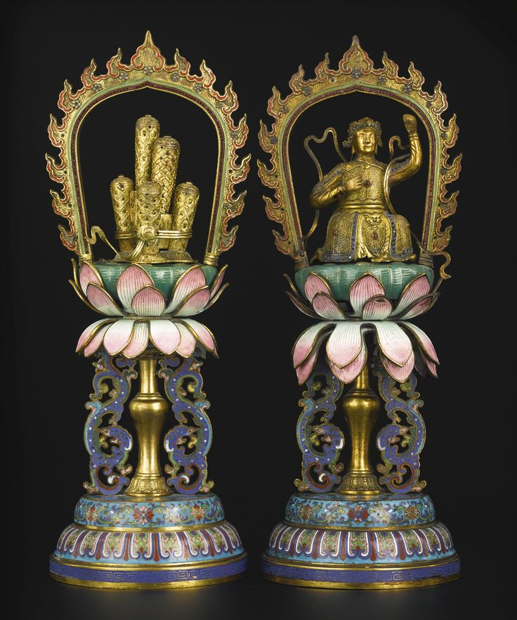 A pair of cloisonne and champleve enameled gilt-bronze symbolic offerings, China, Qing Dynasty, late 18th-early 19th century