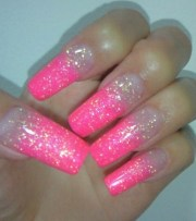 long pink glitter nails love