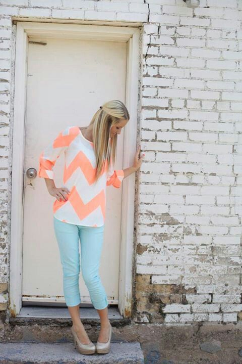 pastel chevron top, chevron jeans, and heels. gorgeous! my cousins favorite design is chevron, she will love this shirt