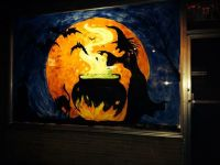 Halloween witch window painting