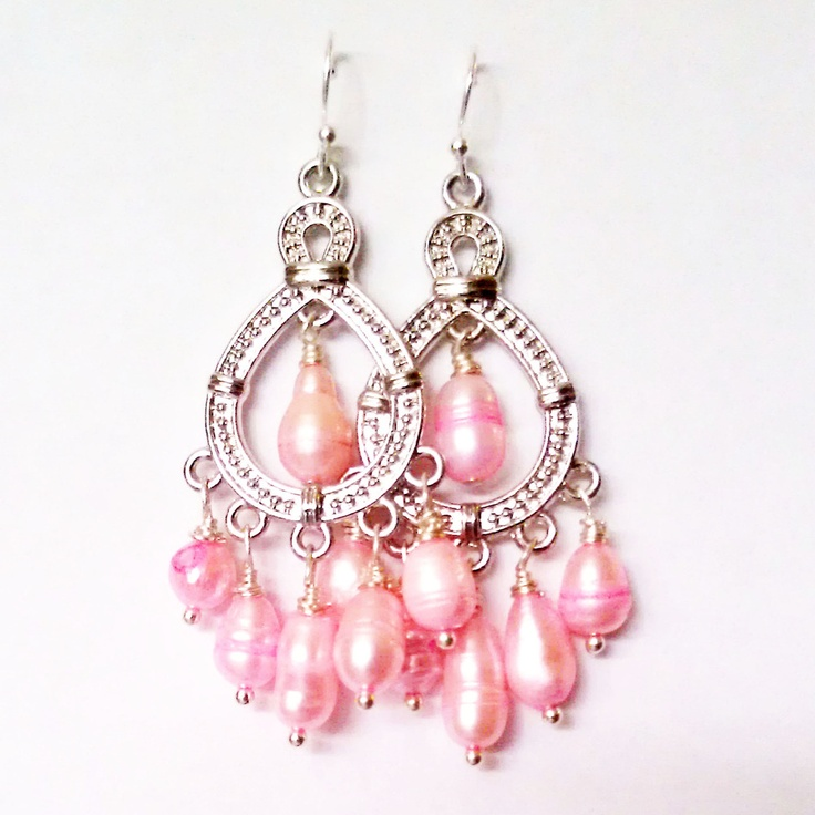 Pink Pearl Chandelier Dangle Earrings
