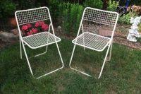 Vintage Pair Mid Century Modern Metal Mesh Folding Lawn ...