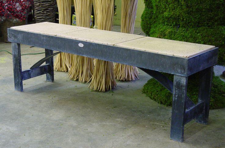 steel and concrete garden bench