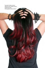 ombre hair black and red
