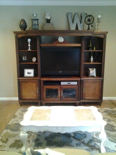 Entertainment center decor  For the home  Pinterest