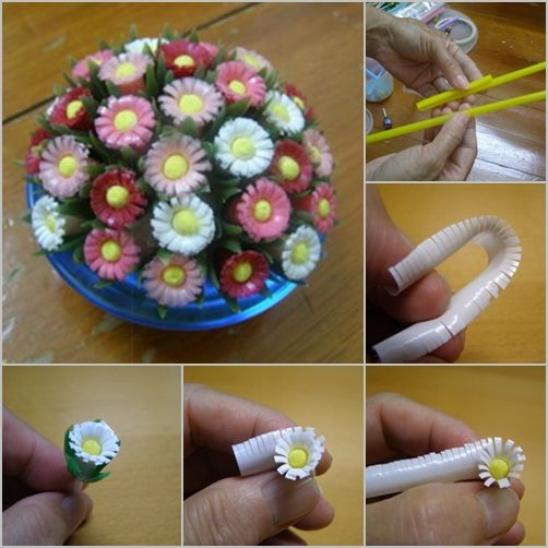 Share It's really a nice idea to reuse drinking straw, making beautiful flowers for home. This project is an easy one for kids. Materials: Drinking straw Green fabric/paper/ribbon Cotton Swab Yellow paint/nail oil Scissors Mounting tape Thread