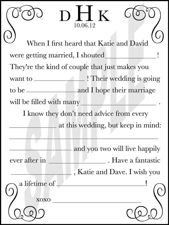 Modern Wedding Guest Book Wedding Day Mad Libs