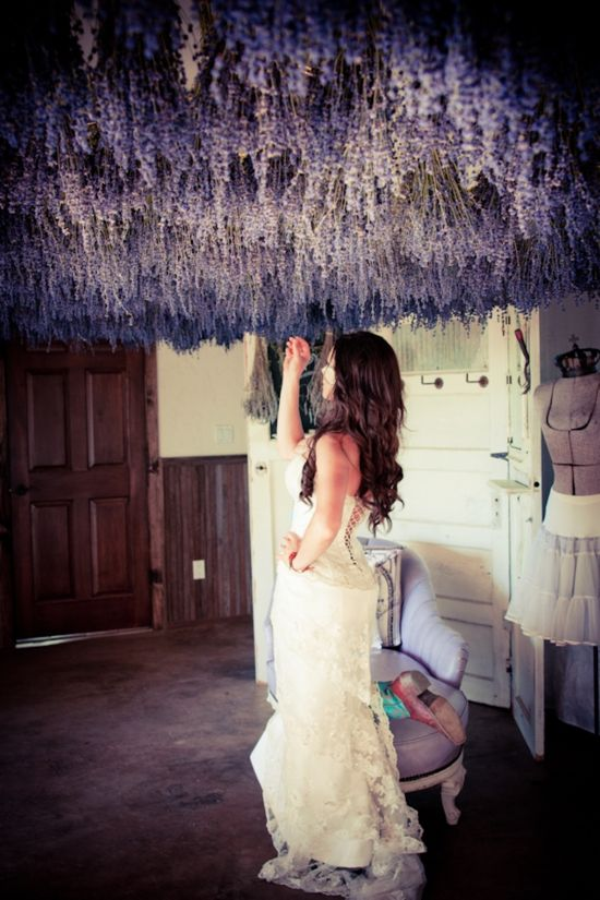 Hanging Lavender (or maybe feathers) from the ceiling for the reception. Not so low but it helps make a more romantic mood.