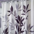 Purple and gray shower curtain