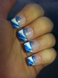 Blue and white nail design | Nail designs | Pinterest