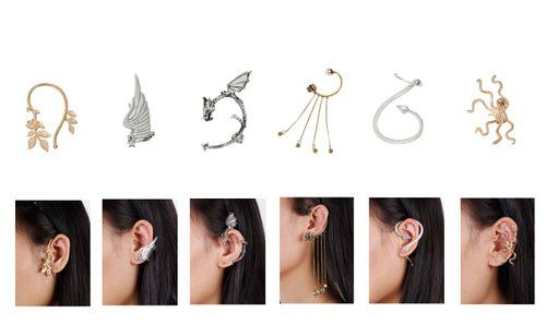 Bundle Monster 6pc Punk Style Ear Wrap Charm Ear Cuff Earring Stud Fashion Accessory for Pierced + Non Pierced Ears - Set 2: Amazon.co.uk: J...
