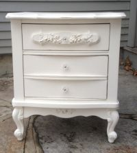 Shabby Chic white nightstand.