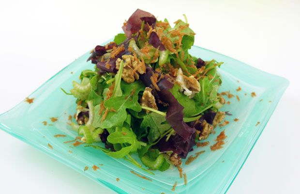 Bitter Greens & Dulse Salad with Apple-Miso Dressing
