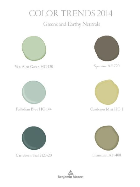 Benjamin Moore Color Trends  - greens and earthy neutrals