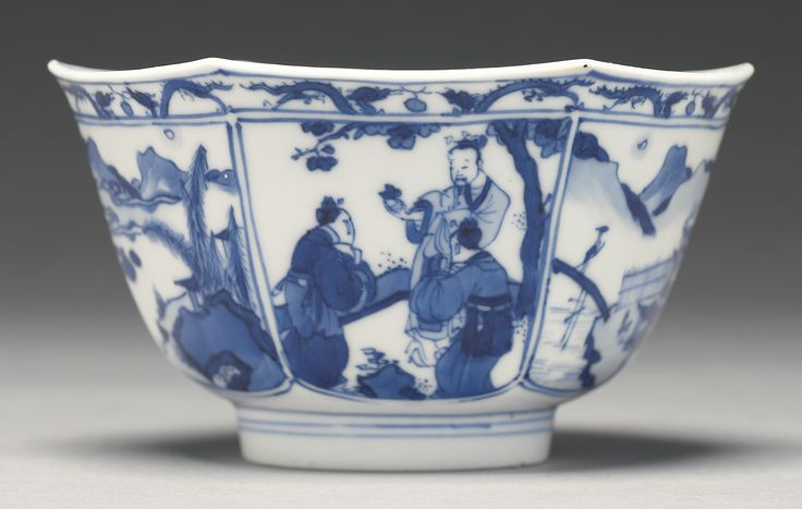A blue and white hexagonal bowl, Kangxi mark and period