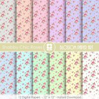 Shabby Chic Scrapbook Rose Digital Paper, Shabby Chic