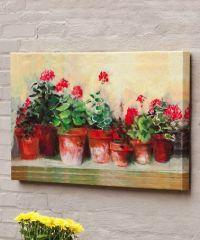 Kathleen's Geraniums Outdoor Canvas Wall Art