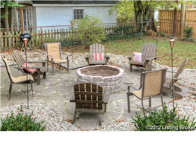 fire pit and stone sitting area
