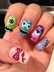 nail art - monsters nails