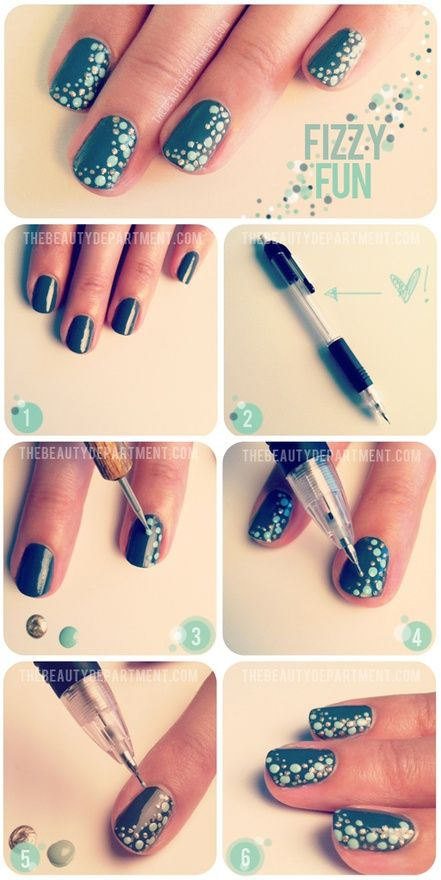 nail dotting - DIY nail art design