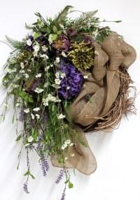 Country Wreath, Front Door Wreath, Burlap, Spring Wreath ...