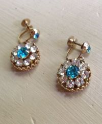 Vintage Signed Coro Blue Rhinestone Gold Earrings