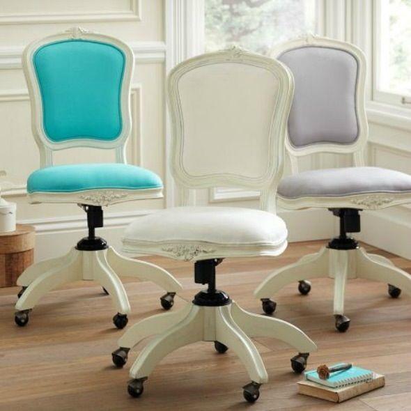 Shabby chic feminine office chair  Pieces I Love  Pinterest