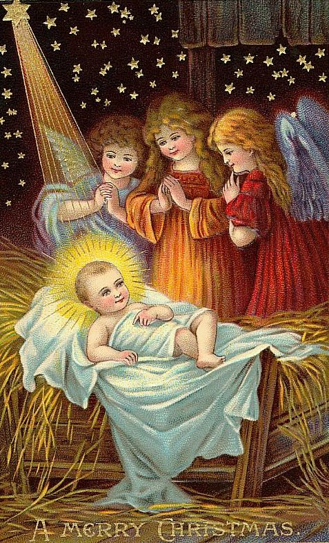 Three vintage angels with baby Jesus in the manger  http://wordplay.hubpages.com/hub/christmas-angel-cards