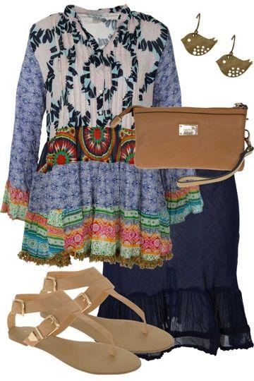 Patchwork Pattern Outfit includes Naudic, Billini, and Diana Ferrari - Birdsnest Online Shop