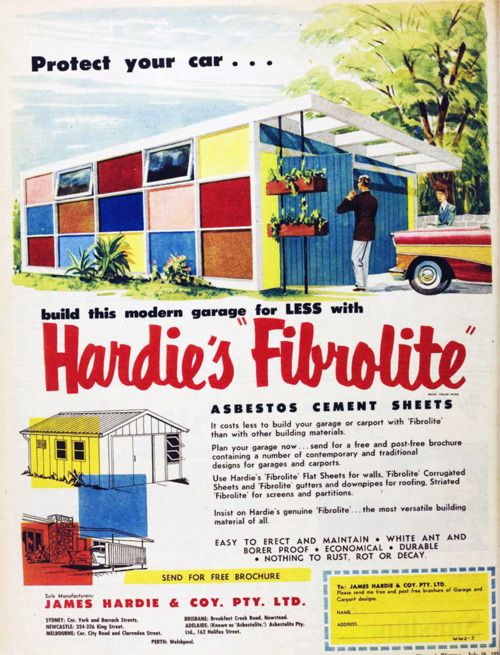 1958 asbestos garage. Repinned by Secret Design Studio, Melbourne. www.secretdesignstudio.com