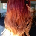 Red to blonde ombre hair i like the mid to lower portion of colour