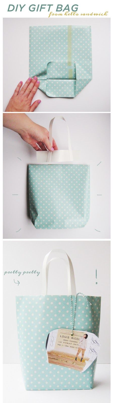 Make gift bags using wrapping paper. Perfect for those oddly shaped gifts!