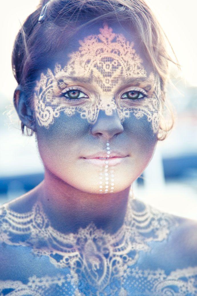 Beautiful spray stencil on skin