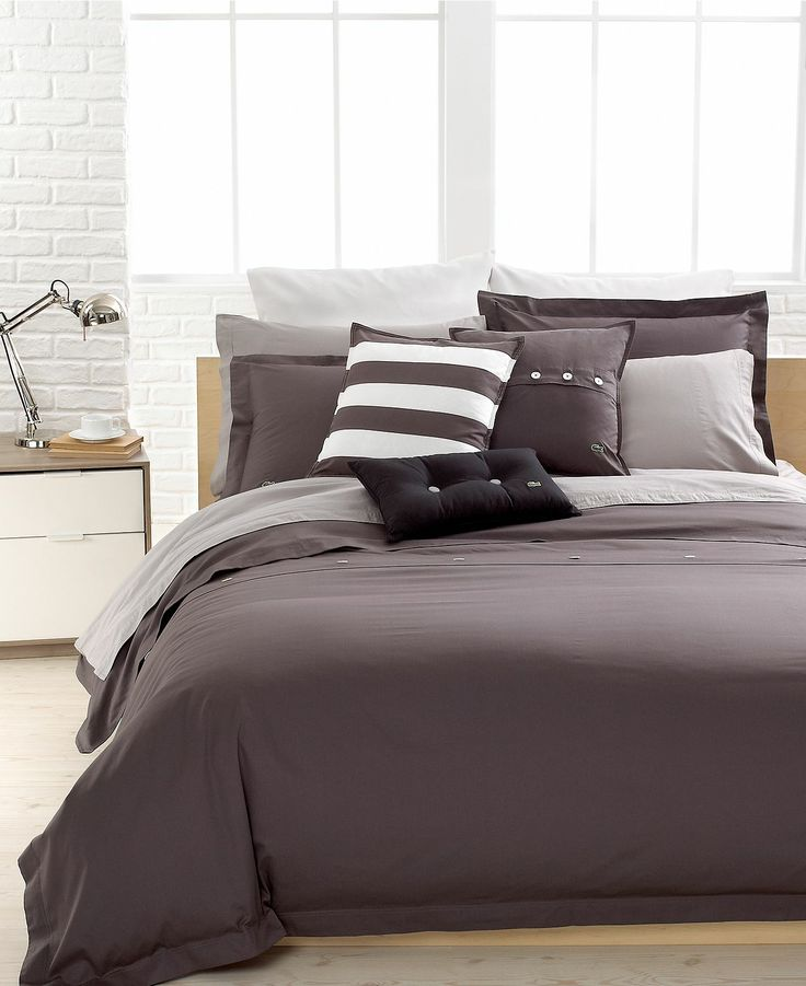 CLOSEOUT! Lacoste Solid Grey Brushed Twill Comforter and