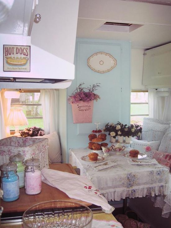 Rv Trailer Decorating | RV Glamping / Shabby chic vintage style camper trailer decor