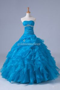Blue poofy prom dress