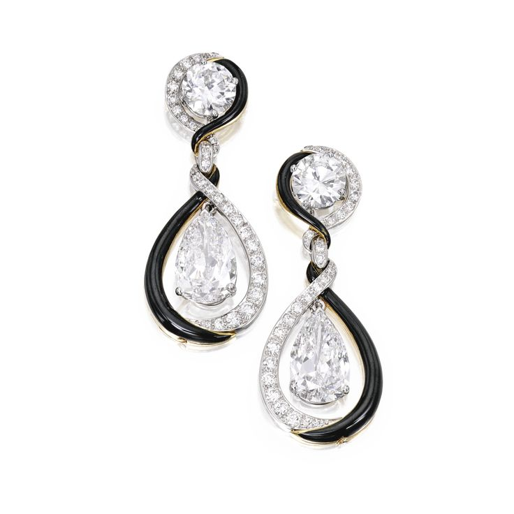 Pair of diamond pendant-earrings with three interchangeable diamond and enamel earring jackets, the earring jackets by David Webb