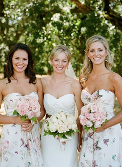 butterfly patterned bridesmaids dresses | via Snippet & Ink