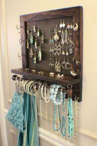 Dark Cherry/Ebony Stained Wall Mounted Jewelry Organizer ...