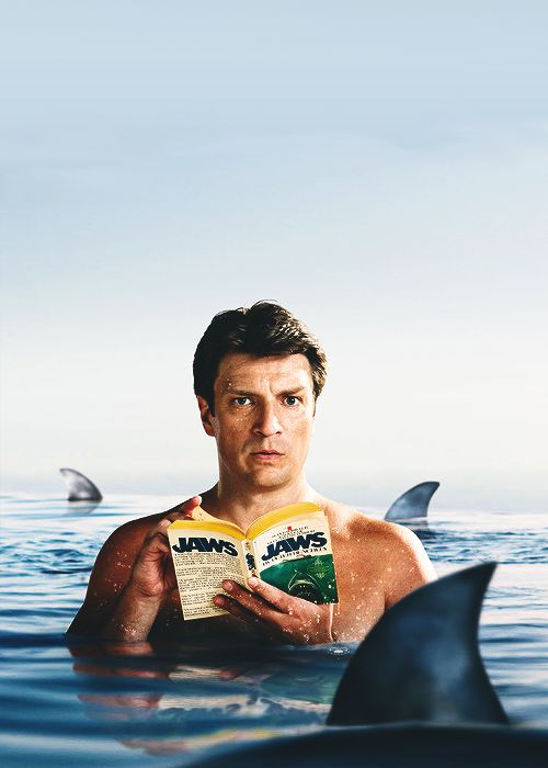 Nathan Fillion reading Jaws (Ha!  He's a true reading advocate, btw.  HKC)