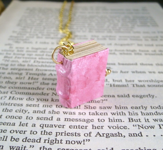Miniature Book Necklace Mini Leather Strapped Thick Book Necklace Pink $34.00