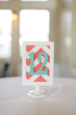 Coral and aqua chevron table numbers - wedding