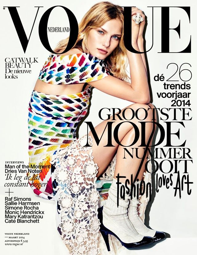 Vogue Nederland March 2014, Marique Schimmel by Marc de Groot. Chanel rainbow dress.
