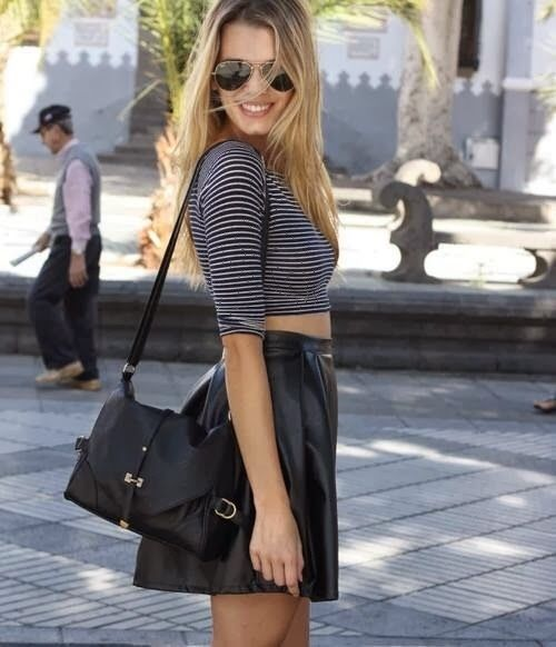 How to Chic: LEATHER SKATER SKIRT