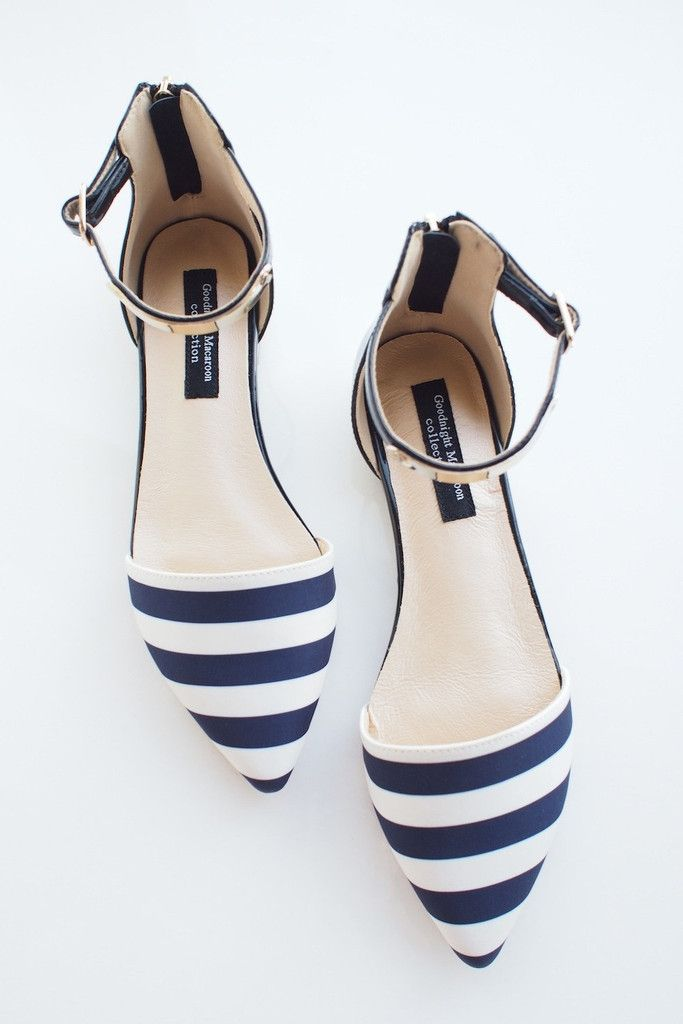 Goodnight Macaroon | PREMIUM NAUTICAL STRIP POINTY METAL PLATE ANKLE STRAP FLATS. Love!