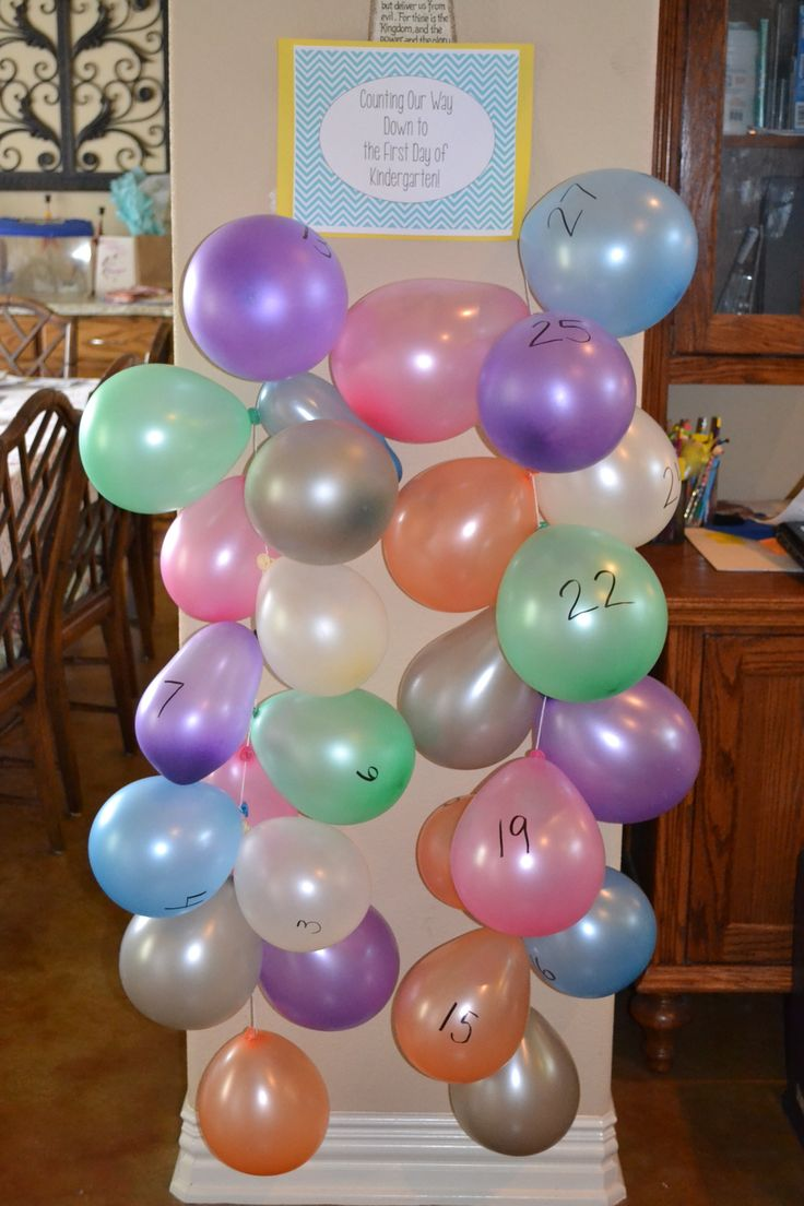 I stole this idea and changed it to a countdown to the first day of Kindergarten.  Will work on number identification/counting backwards skills, too.  We've already popped our first balloon!