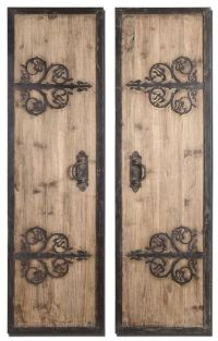 "Wrought Iron 71"" Rustic Wood DOOR PANELS Wall Art Spanish ..."