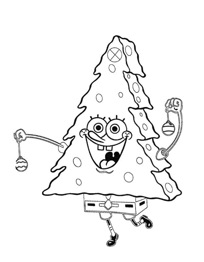 Spongebob Christmas Waving Both Hands Coloring Page